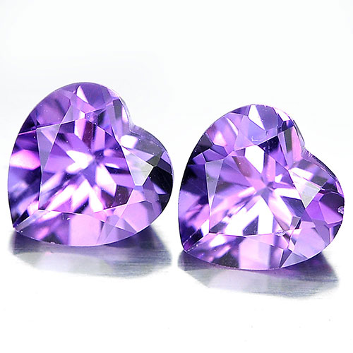 Unheated 1.46 Ct. Matching Pair Heart Shape Natural Gemstones Purple Amethyst