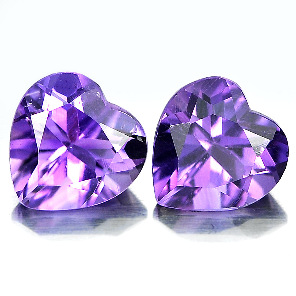 Unheated 1.41 Ct. Matching Pair Heart Shape Natural Gemstones Purple Amethyst