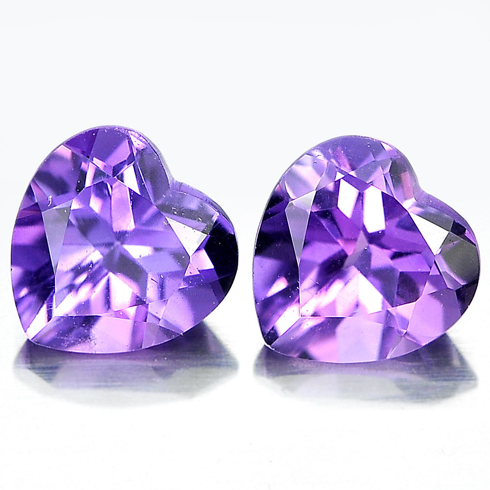 Unheated 1.42 Ct. Matching Pair Heart Shape Natural Gemstones Purple Amethyst