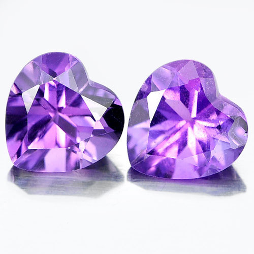 Unheated 1.37 Ct. Matching Pair Heart Shape Natural Gemstones Purple Amethyst