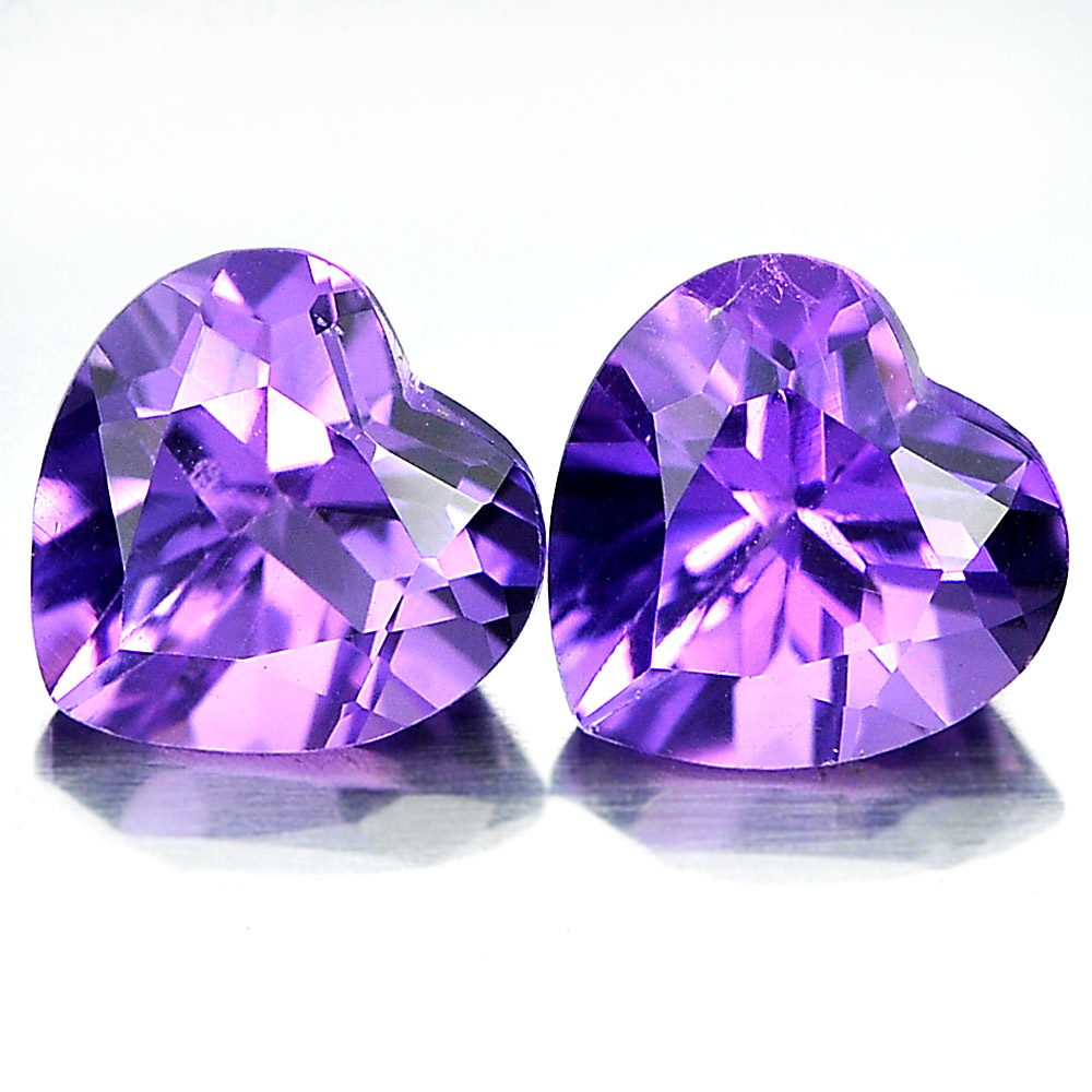 Unheated 1.45 Ct. Matching Pair Heart Shape Natural Gemstones Purple Amethyst