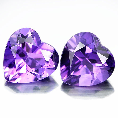 Unheated 1.39 Ct. Matching Pair Heart Shape Natural Gemstones Purple Amethyst