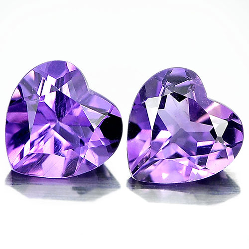 Unheated 1.33 Ct. Matching Pair Heart Shape Natural Gemstones Purple Amethyst