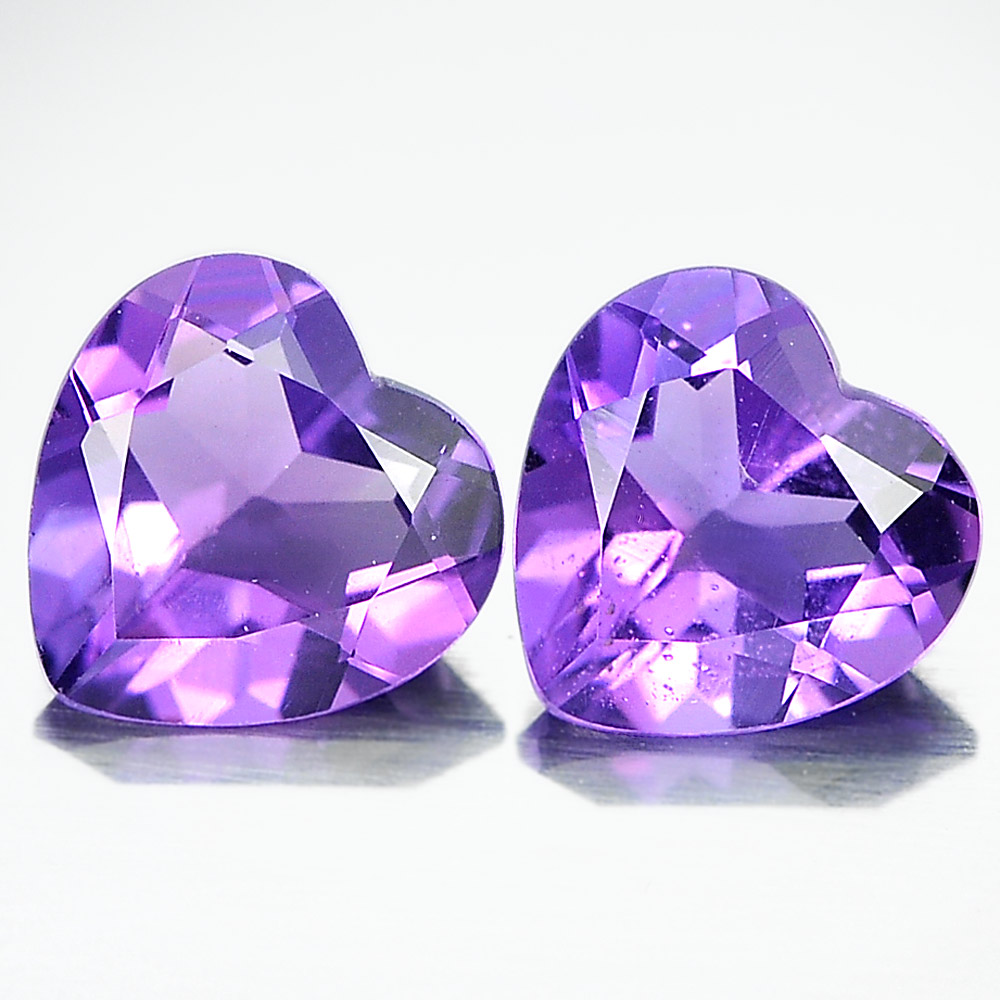 Unheated 1.21 Ct. Matching Pair Heart Shape Natural Gemstones Purple Amethyst