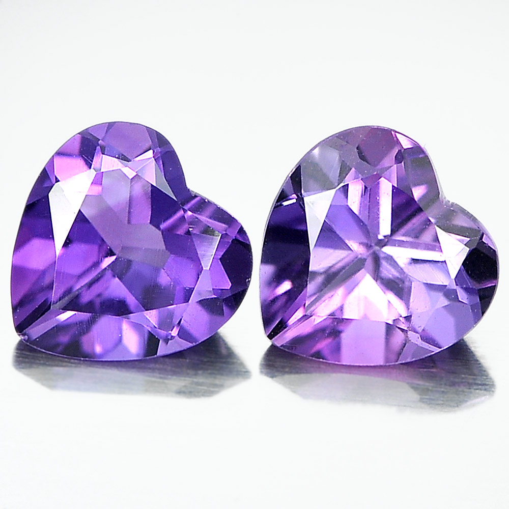 Unheated 1.29 Ct. Matching Pair Heart Shape Natural Gemstones Purple Amethyst