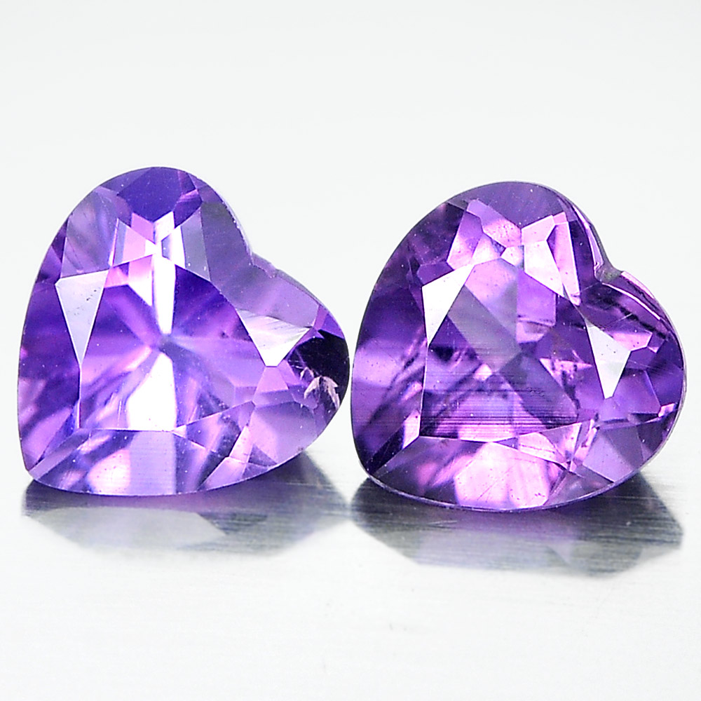 Unheated 1.34 Ct. Pair Heart Shape Natural Gemstones Purple Amethyst From Brazil