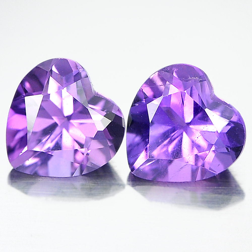Unheated 1.39 Ct. Pair Heart Shape Natural Gemstones Purple Amethyst From Brazil