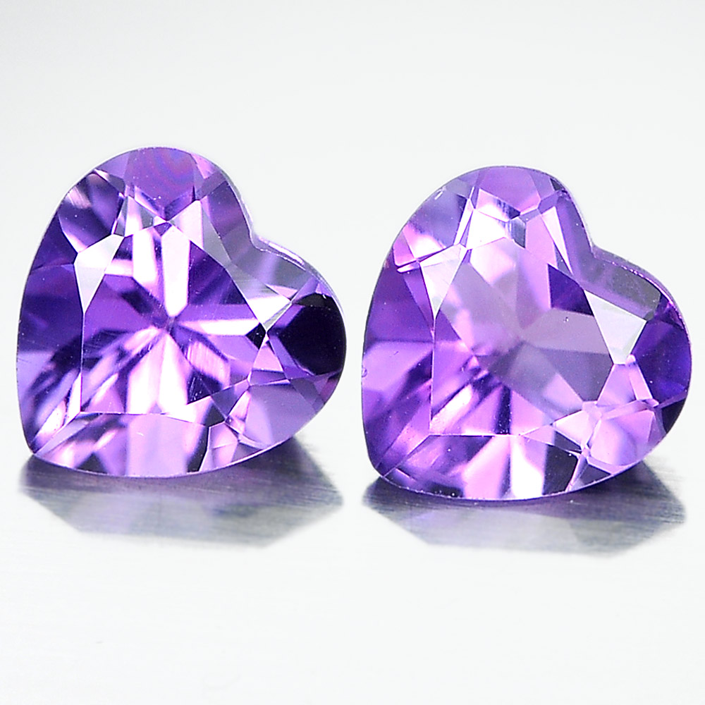 Unheated 1.37 Ct. Pair Heart Shape Natural Gemstones Purple Amethyst From Brazil