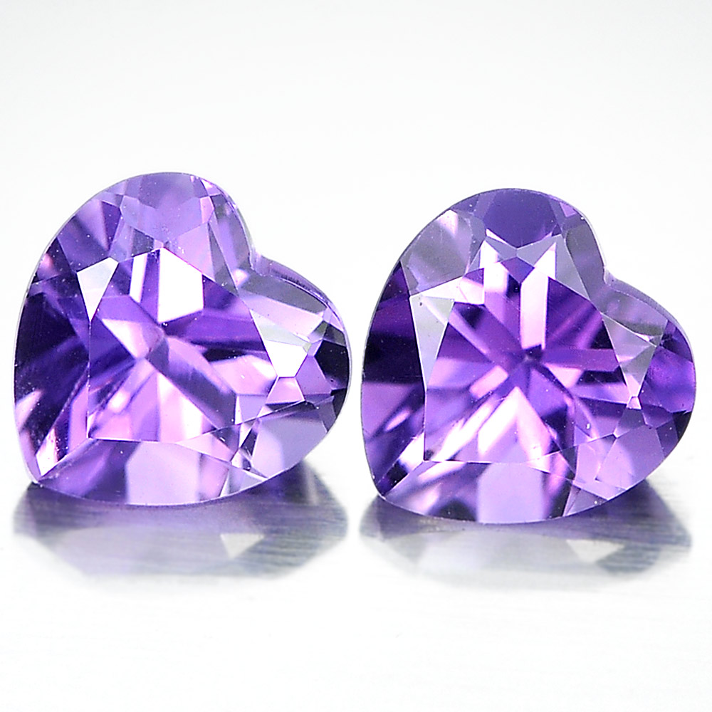 Unheated 1.44 Ct. Pair Heart Shape Natural Gemstones Purple Amethyst From Brazil