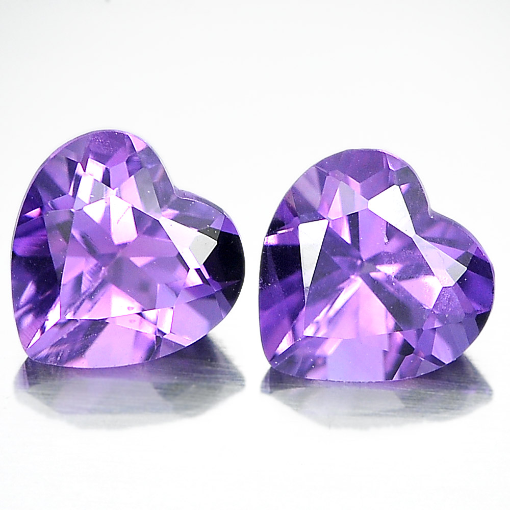 Unheated 1.30 Ct. Pair Heart Shape Natural Gemstones Purple Amethyst From Brazil