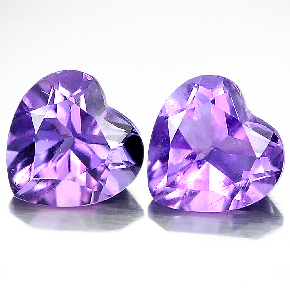 Unheated 1.43 Ct. Pair Heart Shape Natural Gemstones Purple Amethyst From Brazil