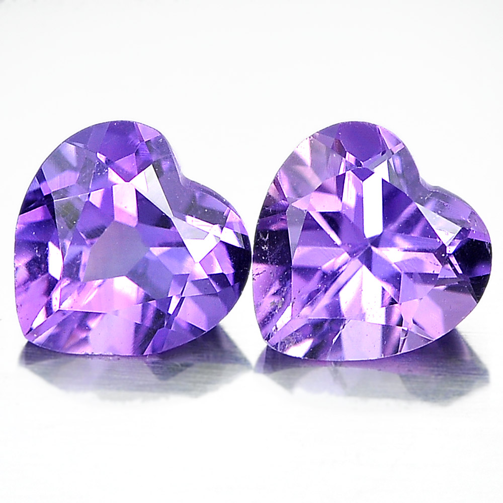 Unheated 1.28 Ct. Pair Heart Shape Natural Gemstones Purple Amethyst From Brazil