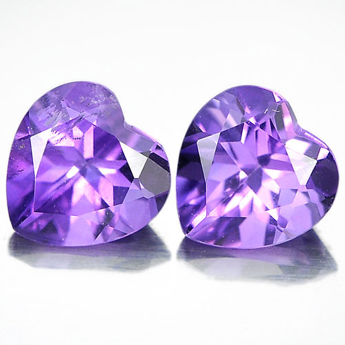 Unheated 1.40 Ct. Pair Heart Shape Natural Gemstones Purple Amethyst From Brazil