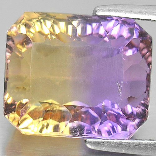 7.53 Ct. Natural Octagon Millennium Cut Bi Color Ametrine Unheated From Bolivia