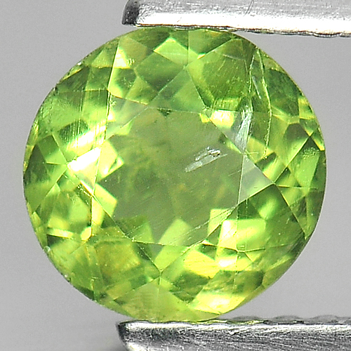 1.01 Ct.  Round 6.4 mm. Natural Gem Green Apatite Unheated