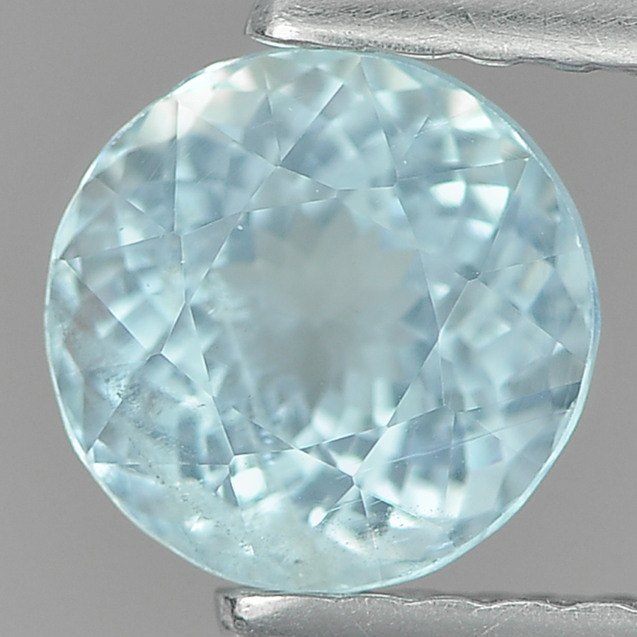 0.86 Ct. 6.2 Mm. Round Natural Light Blue Aquamarine Unheated
