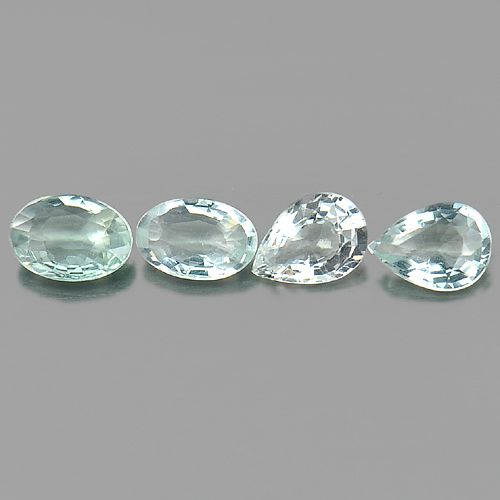 2.25 Ct. 4 Pcs. Mix Shape Natural Light Blue Aqumarine