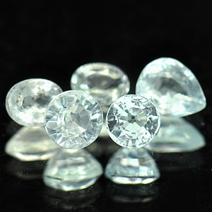 1.25 Ct. 5 Pcs. Mix shape Natural Light Blue Aqumarine