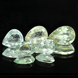 4.05 Ct. 5 Pcs. Pear Natural Light Blue Aqumarine Gems