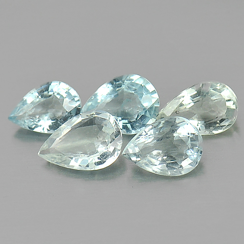 3.63 Ct. 5 Pcs. Pear Natural Light Blue Aqumarine Gems