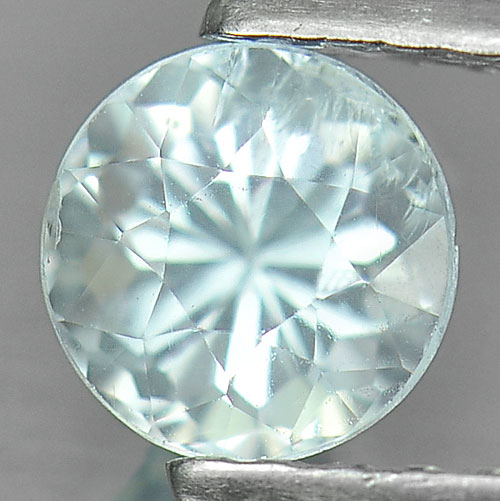 0.59 Ct. Lustrous Round Natural Gem Light Blue Aquamarine Unheated
