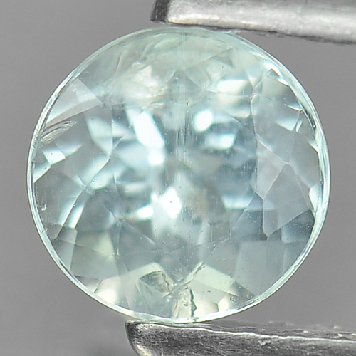 0.63 Ct. Sparkle Round Natural Gem Light Blue Aquamarine Unheated