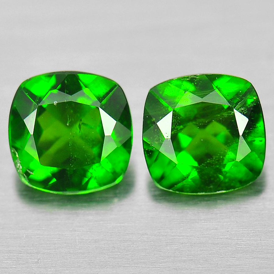 Natural Gems 1.11 Ct. 2 Pcs. Cushion Shape Green Chrome Diopside