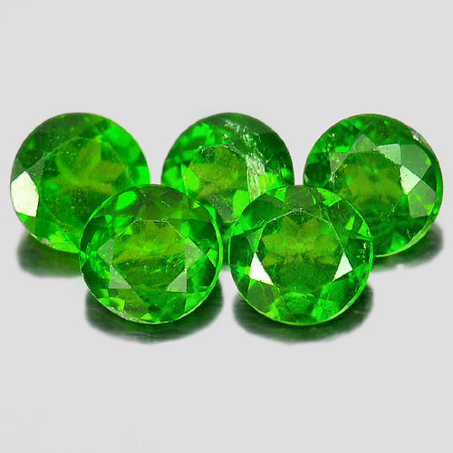 Natural Gems 1.22 Ct. 5 Pcs. Nice Round Shape Green Chrome Diopside