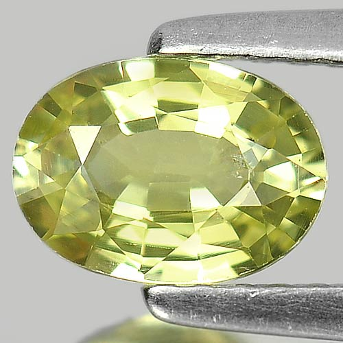 0.98 Ct.Oval Shape Size 7 x 5 Mm.Natural Gem Greenish Yellow Chrysobery Unheated