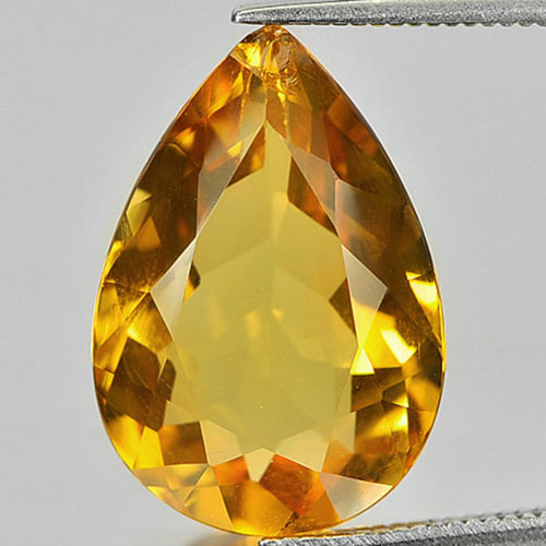 7.67 Ct. Pear Shape Natural Gemstone Yellow Citrine From Brazil Unheated