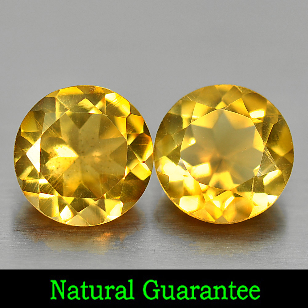 2.26 Ct. 2 Pcs. Round Shape 7 Mm. Natural Gemstones Yellow Citrine From Brazil
