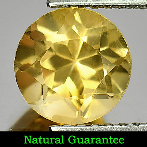 1.43 Ct. Good Round Natural Gemstone Yellow Citrine Brazil Unheated