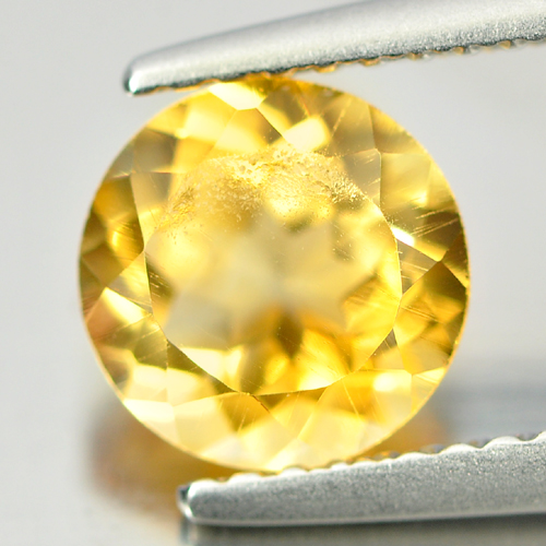 1.30 Ct. Round Natural Gemstone Yellow Citrine Brazil Unheated