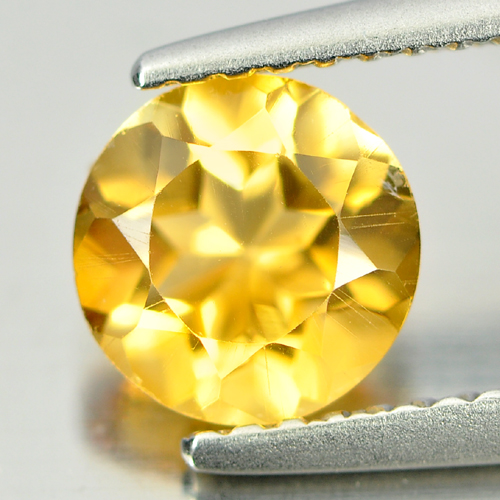 0.99 Ct. Good Color Round Shape Natural Gem Yellow Citrine Brazil