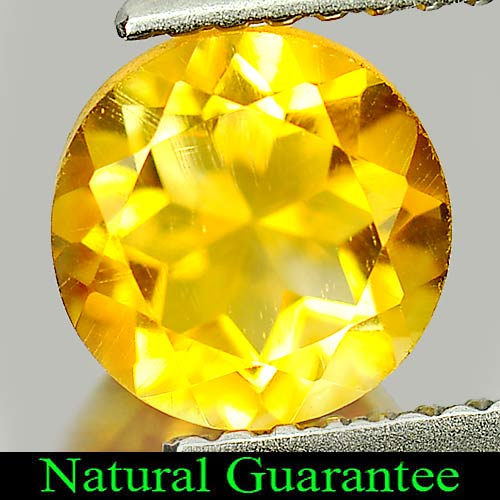 1.30 Ct. Round Shape 7 Mm Natural Gemstone Yellow Citrine From Brazil Unheated