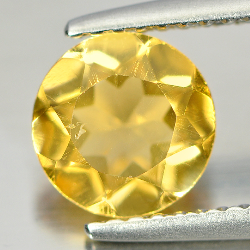 Nice Natural Gem 1.12 Ct. Round Shape Yellow Citrine From Brazil