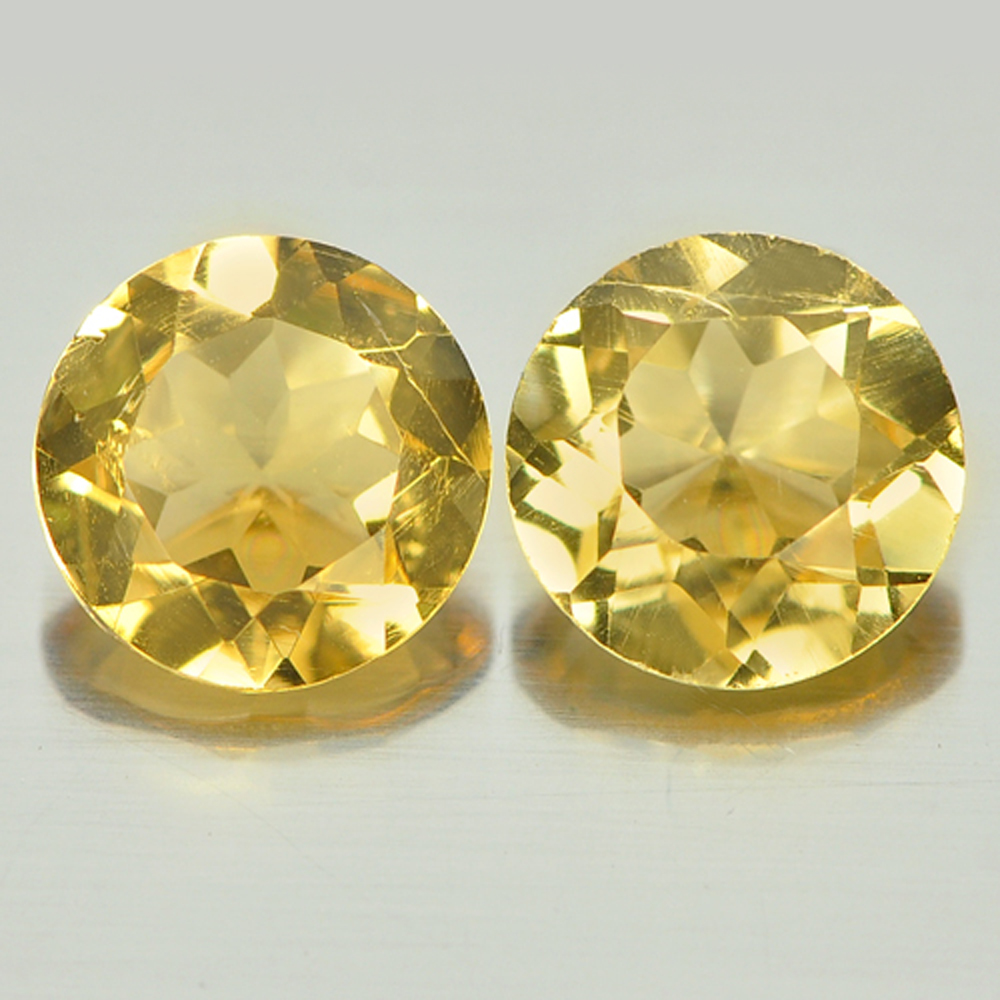 2.16 Ct. 2 Pcs. Round Shape Natural Gemstone Yellow Citrine Unheated From Brazil