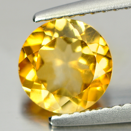 Calibrate Size 0.64 Ct. Round Natural Gem Yellow Citrine Unheated