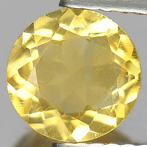 1.08 Ct. Round Shape 7.2 Mm. Natural Gemstone Yellow Citrine From Brazil