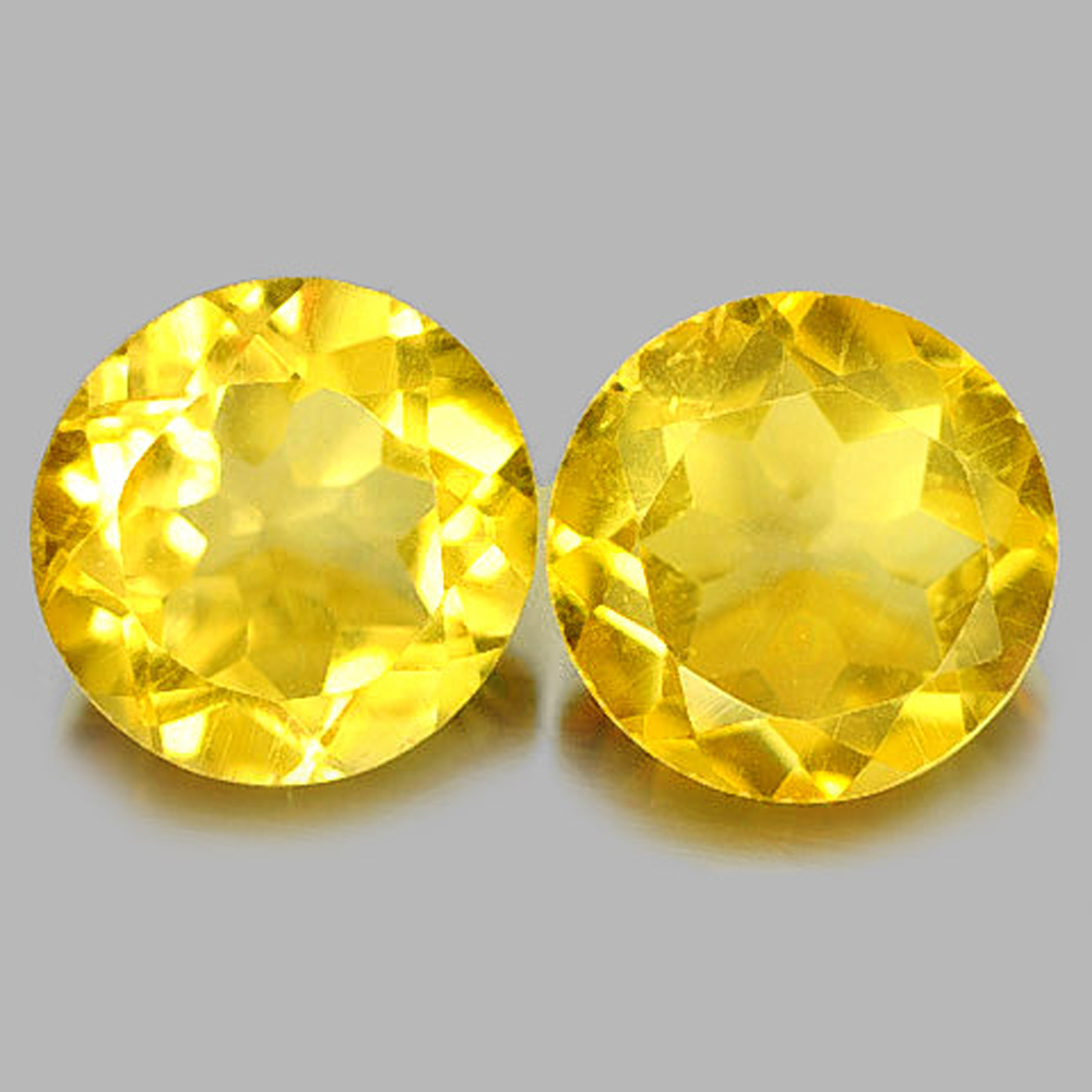 2.46 Ct. 2 Pcs. Round Shape 7.3 Mm. Natural Gemstone Yellow Citrine From Brazil