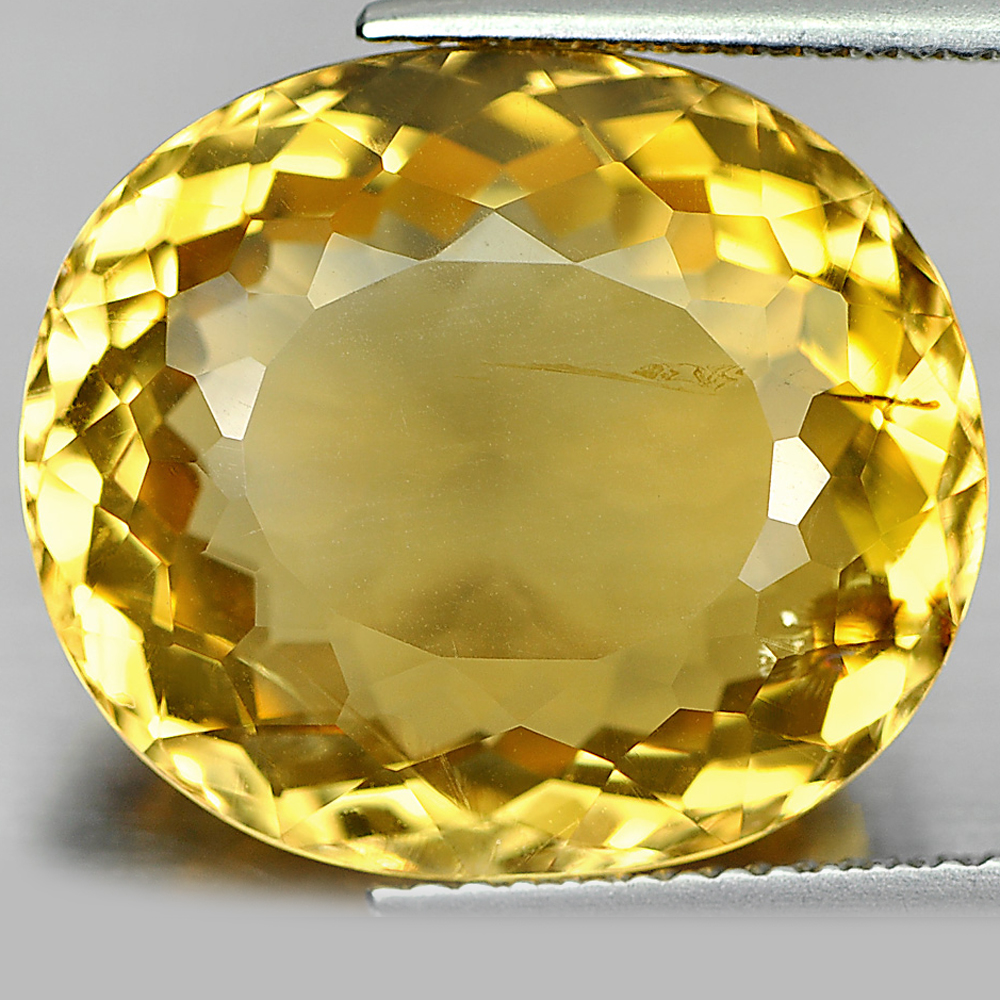 13.74 Ct. Oval Shape 17.5 x 15.1 Mm. Natural Gemstone Yellow Citrine Unheated