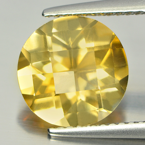 2.74 Ct. Round Checkerboard Natural Gem Yellow Citrine Unheated Brazil