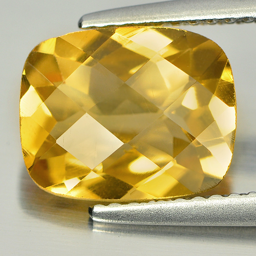 2.50 Ct. Nice Cushion Checkerboard Natural Gem Yellow Citrine Unheated