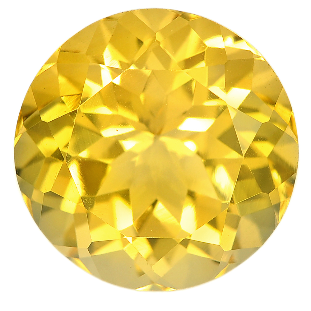 11.69 Ct. Round Shape Size 15 mm. Natural Gemstone Yellow Citrine From Brazil