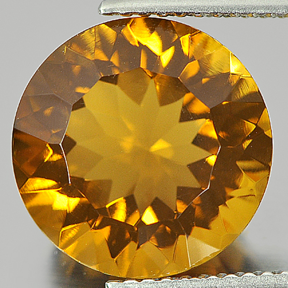 6.10 Ct. Round Shape Size 12 Mm. Natural Gemstone Yellow Citrine From Brazil