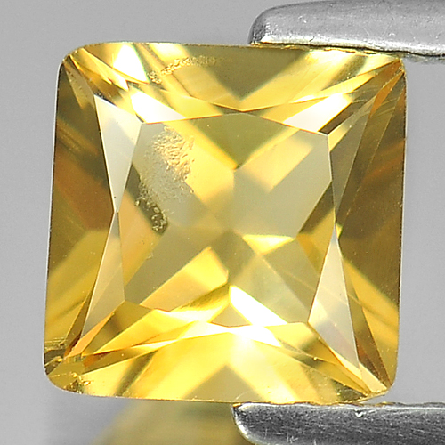 1.45 Ct. Nice Color Square Shape Natural Yellow Citrine Gemstone Brazil
