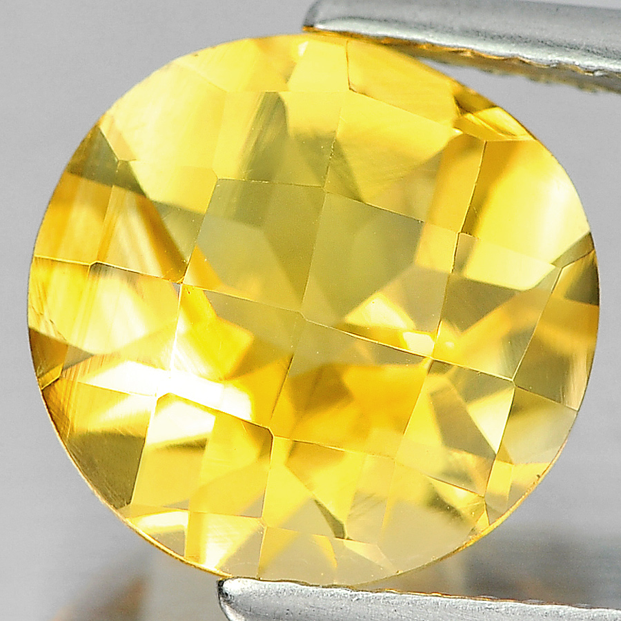 3.05 Ct. Round Checkerboard Cut Natural Gemstone Clean Yellow Citrine Unheated