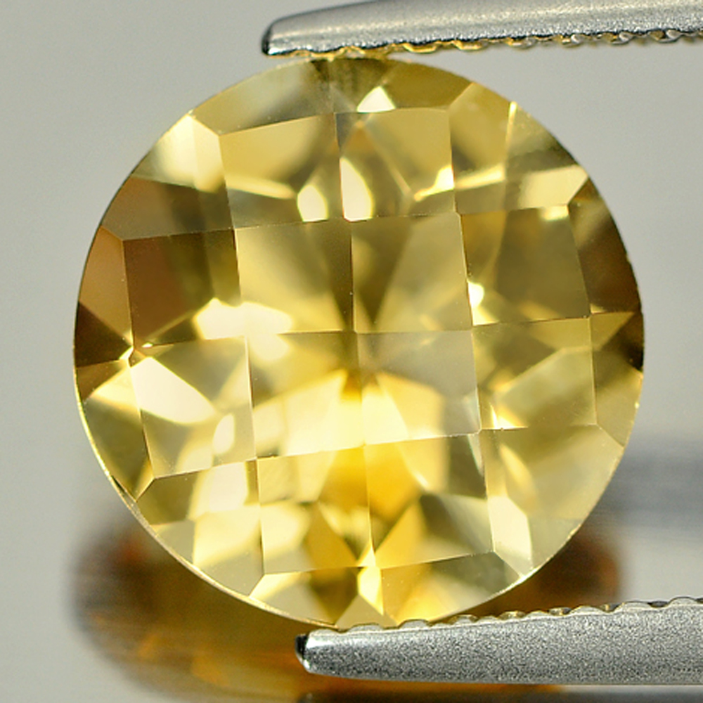 2.97 Ct. Round Checkerboard Cut 10 Mm. Natural Gemstone Yellow Citrine Unheated