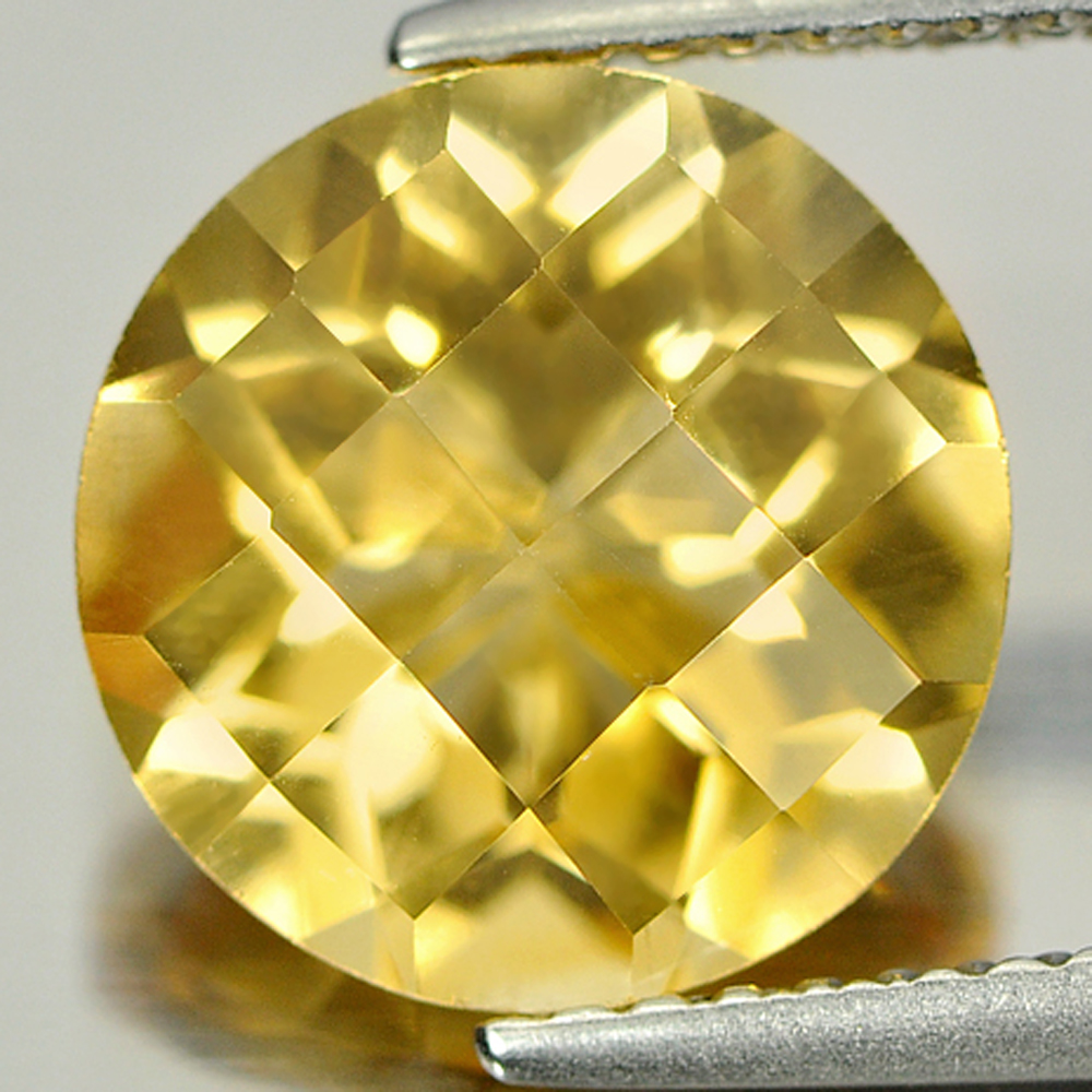 3.20 Ct. Round Checkerboard Natural Gemstone Clean Yellow Citrine Unheated