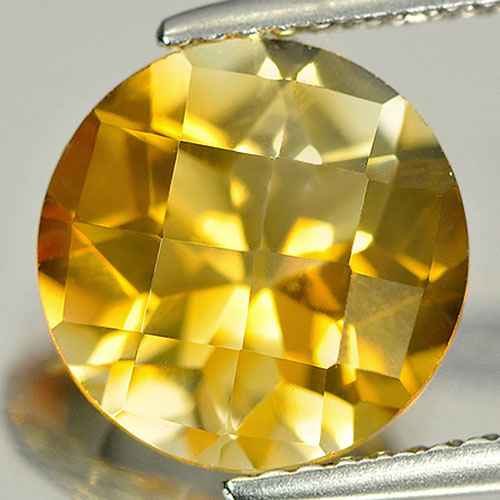 3.04 Ct. Round Checkerboard Natural Gemstone Clean Yellow Citrine Unheated